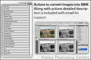 Actions to convert images into Black & White.