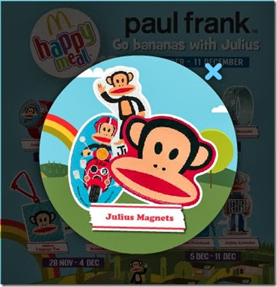 McDonalds happy meal X Paul Frank - Go Banana with Julius magnets