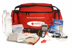 "Washington, DC, July 22, 2008 -- A Red Cross ""ready to go"" preparedness kit showing the bag and it's contents.  Red Cross photograph"