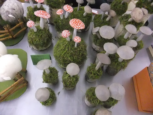 TV crafter Kristin St. Clair made these toadstools.