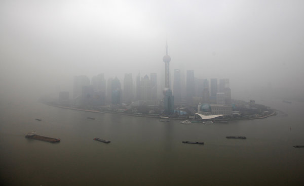 Shanghai in January. Researchers said the toll from China's pollution meant the loss of 25 million healthy years in 2010. Photo: Aly Song / Reuters