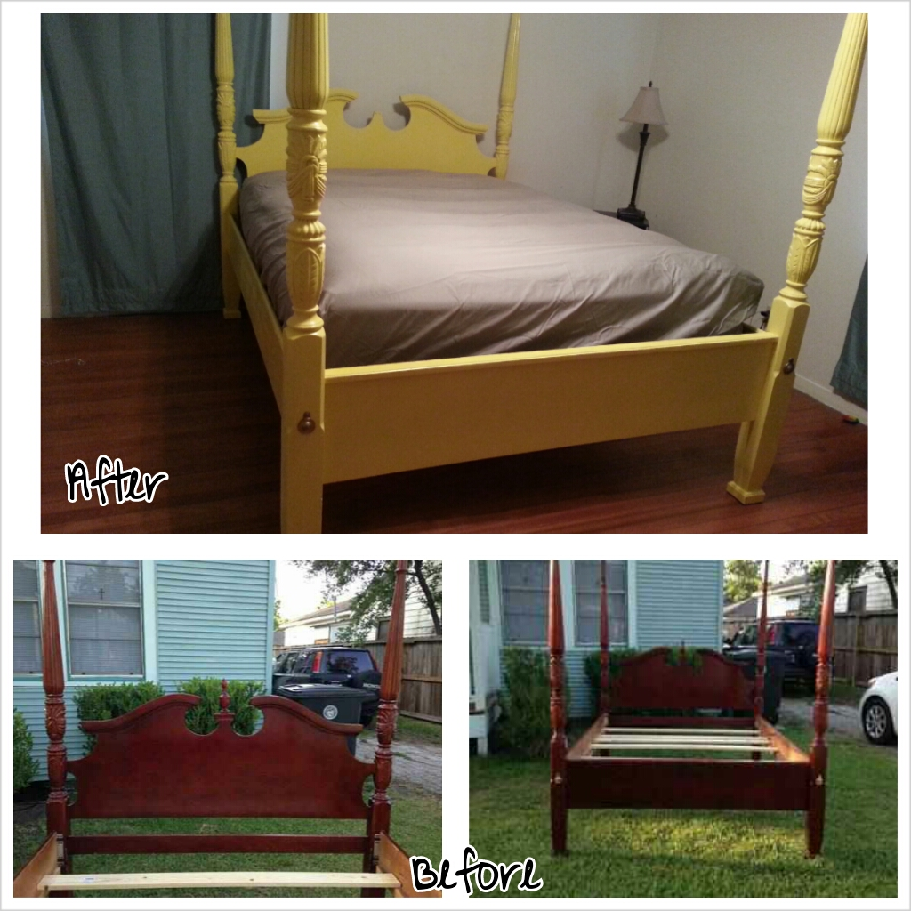 Little Things From A Mostly Sahm Yellow Four Poster Bed