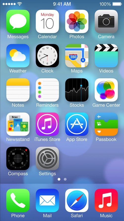Iphone 5 home screen ios 7