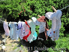 First load of diaper laundry on the clothesline