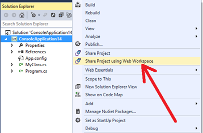 Share project using web workspace