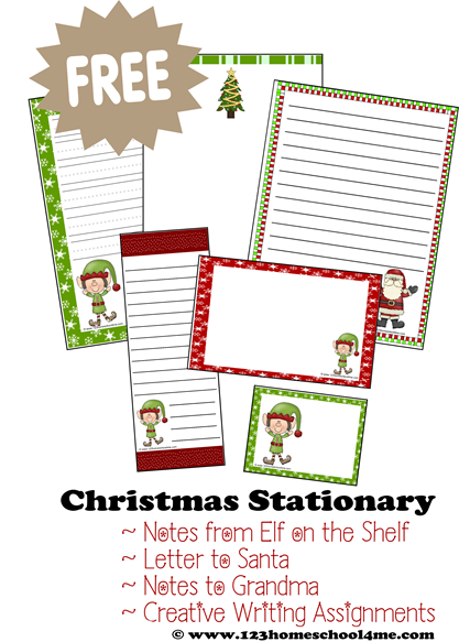 ... creative writing, letters to Santa, elf on the shelf notes and more