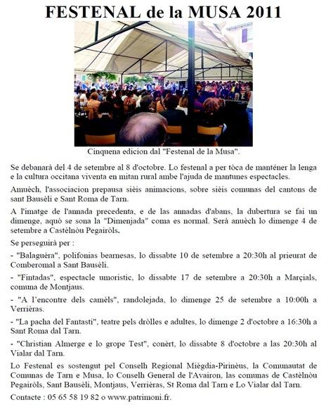 Festenal de la Musa 2011 comunicat en occitan