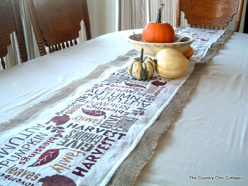 subway art thanksgiving table runner by the country chic cottage