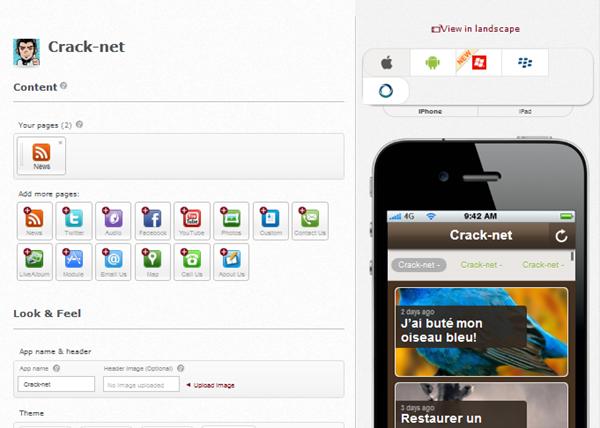 Créer gratuitement une application mobile
