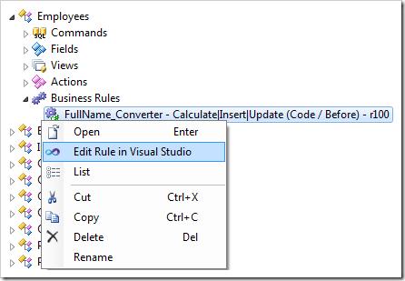 Edit Rule in Visual Studio context menu option for 'FullName_Converter' business rule node.
