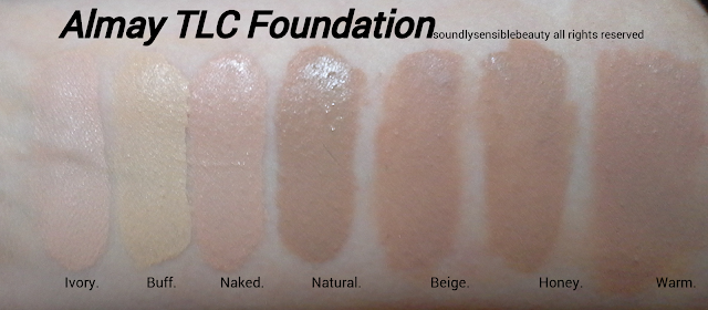 Almay TLC (Truly Lasting Color) Liquid Makeup Review & Swatches of Shades Ivory, Buff, Naked, Natural, Beige, Honey, Warm,