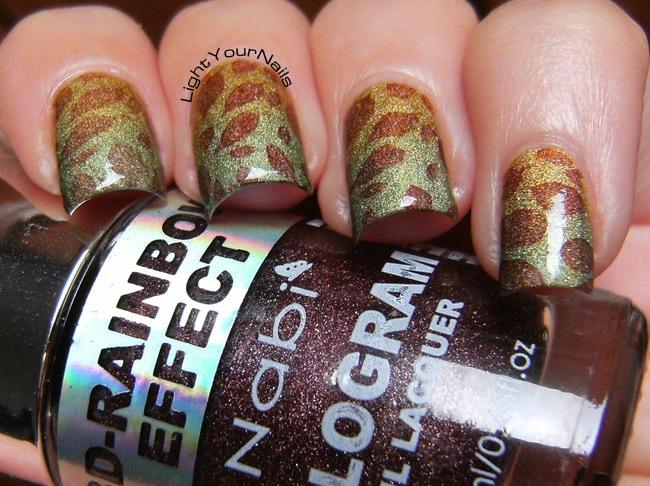 Fall holographic nail stamping mani