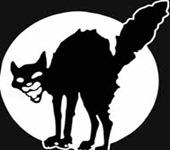 Gatto nero di notte con luna piena stilizzata (piccolo)