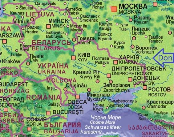 Mapa d'Ucraïna Don