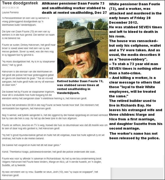 Fourie Daan 73 stabbed to death in frenzy with seven stab wounds Vanderbijlparksmallholding Dec282912