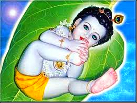 baby krishna on palm leaf