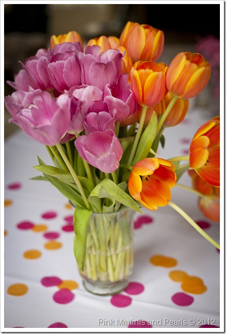 Pink and Ornage Tulips with Tissue Papper Confetti