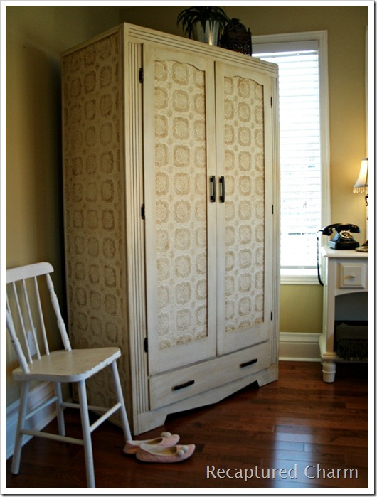 wallpapered armoire 057a