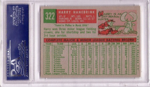1959 Topps 322A harry hanebrink with trade statement back