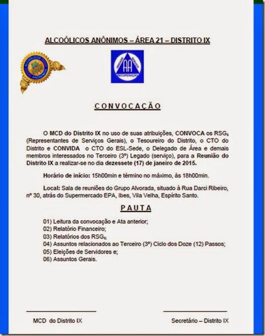 2015 convocação distrito IX