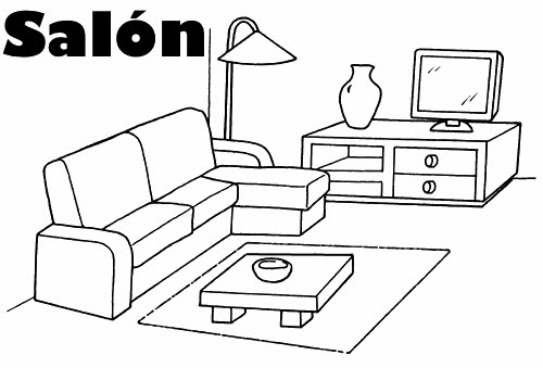 Salon dibujo para colorear for Living room y sus partes