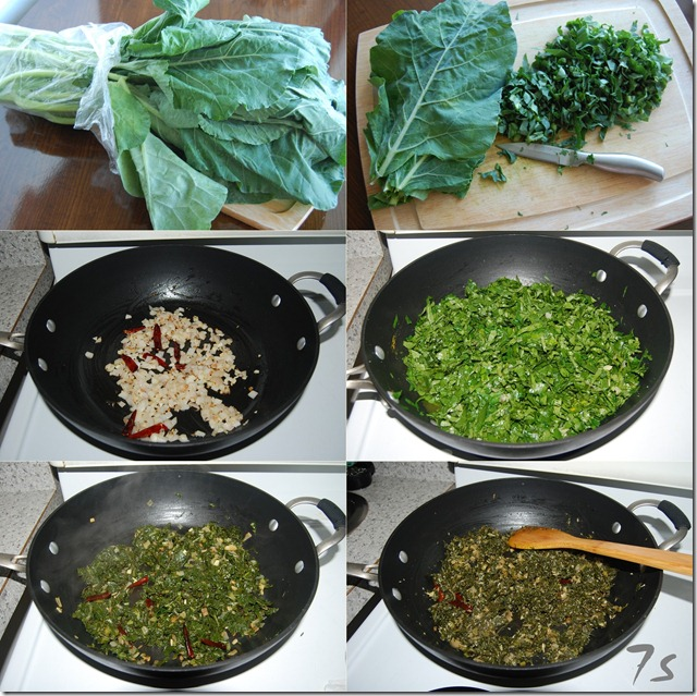 Collard greens stir fry process