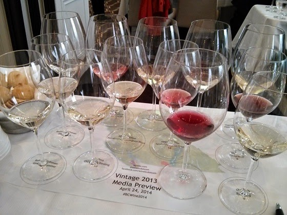 A range of BC wine vintage 2013 samples