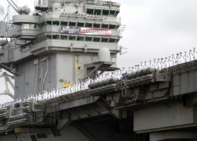 CC Photo Google Image Search Source is upload wikimedia org  Subject is USS Abraham Lincoln CVN 72 Mission Accomplished