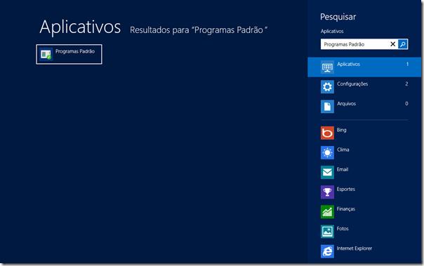 Na tela inicial, digite Programas Padrão e dê Enter