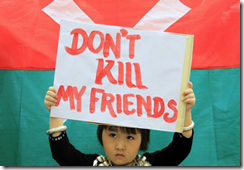 Kachin child protesting