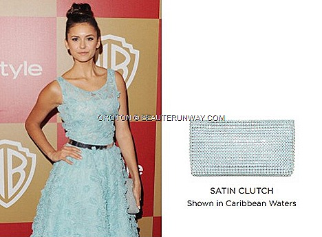 Nina Dobrev Oroton Satin Zip Top Clutch Caribbean Waters InStyle Warner Bros Golden Globe Party OROTON Spring Summer 2013 collection leather bag,  Clutch, wallets accessories Society Clutch Black Icon Mini Australia Luxury brand