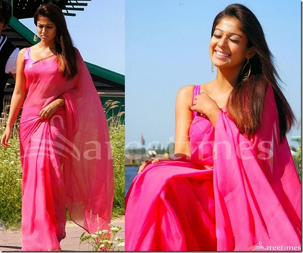 Nayanthara_Pink_Plain_Saree