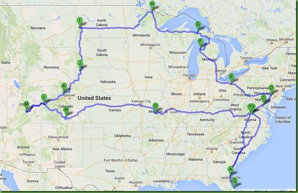 2014 summer travel mapA