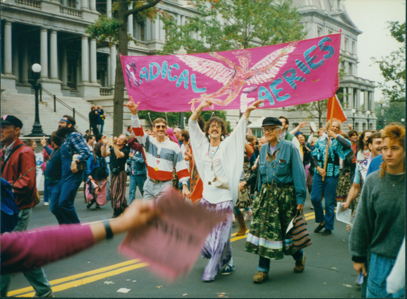 Harry Hay marching with the Radical Faeries, a group he helped found. Undated.