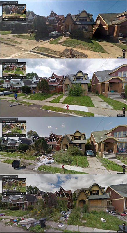 Hickory Street in Detroit, photographed in 2008, 2009, 2011, and 2013. Photo: Scarbane