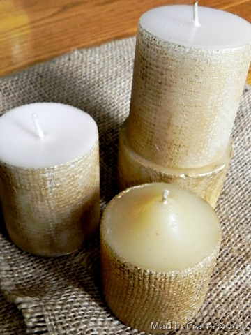 burlap textured candles