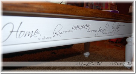 Coffee Table Quote Take 2 {A Sprinkle of This . . . . A Dash of That}