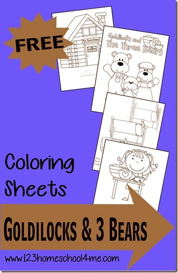 FREE Goldilocks And The 3 Bears Coloring Sheets