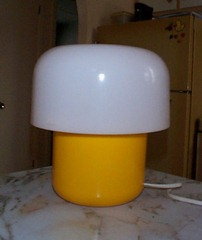 yellow and white Harvey Guzzini table lamp