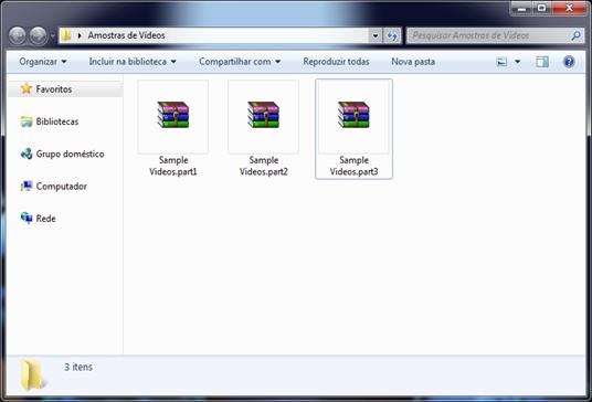 Arquivo compactado dividido em várias partes