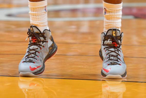 Closer Look at LBJ8217s Nike LeBron X PS Elite Matte Grey PE Game 2
