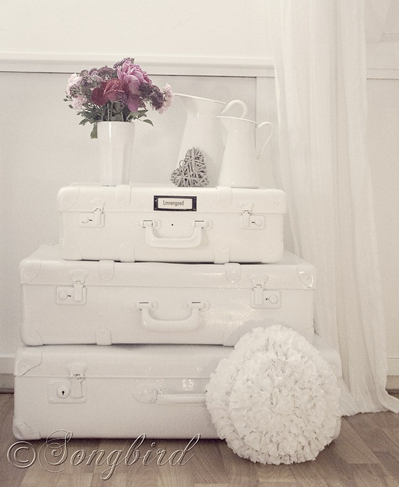 Painted White Suitcases 4