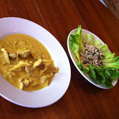 #36 Yellow Curry and #17 Clumsy Cluck with Lettuce instead of Cabbage. Both are naturally gluten fre