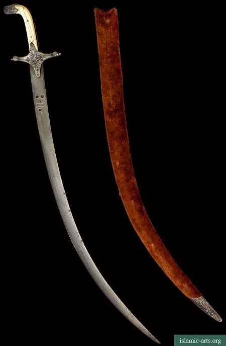 A RARE SIGNED ARAB WATERED-STEEL BLADE, SYRIA, 16TH CENTURY, WITH INDIAN SILVER ENAMELLED SCABBARD AND HILT, LUCKNOW,