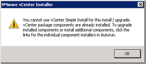 01 Cannot use vCenter Simple Install to upgrade