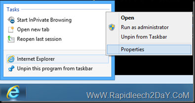 Internet Explorer properties - Private Browsing Mode 1