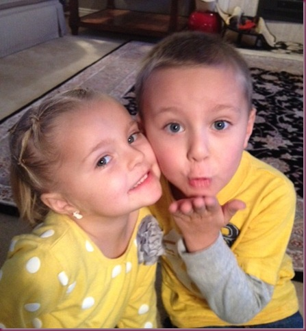 Chloe and Connor blowing kisses to Kya