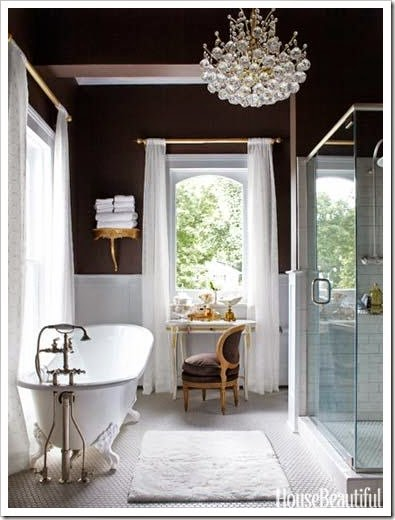 sheer curtains in bathroom
