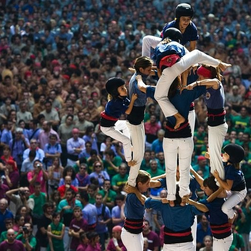 Human Tower Building at Castells Competition in Tarragona