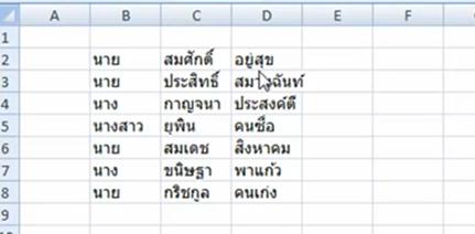 รูปที่ 1 เพศ  ชื่อ และนามสกุลอยู่คนละเซลล์ใน Excel